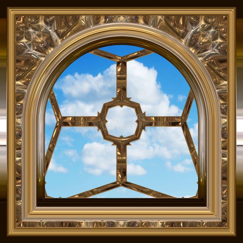 Ventana gótica o del scifi con el cielo azul stock de ilustración