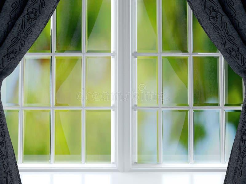 Ventana grande con las cortinas negras fotografía de archivo libre de regalías