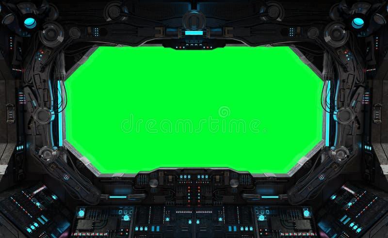 Ventana interior del grunge de la nave espacial aislada libre illustration