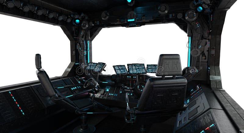 Ventana interior del grunge de la nave espacial aislada ilustración del vector