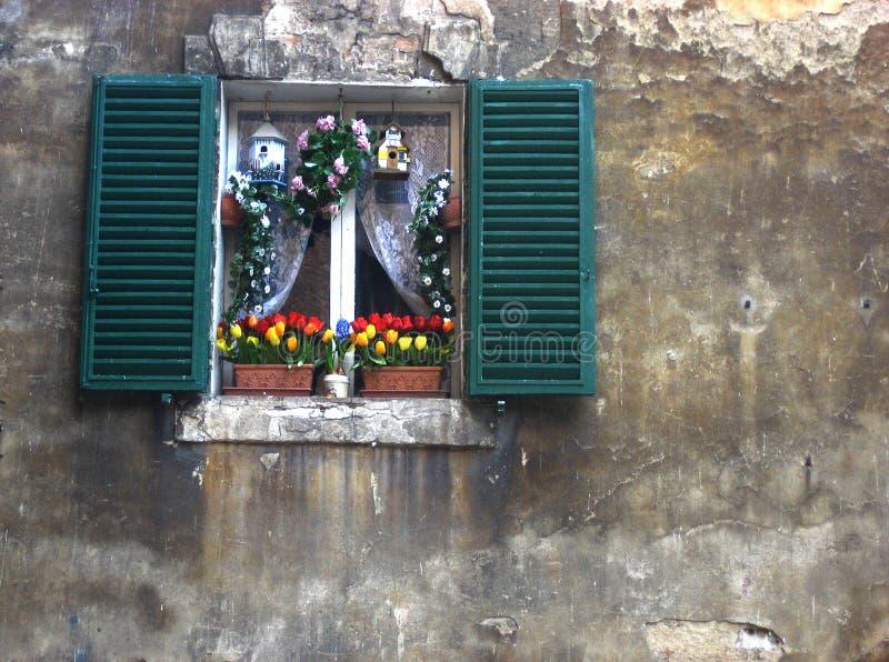 Ventana italiana adornada fotografía de archivo libre de regalías