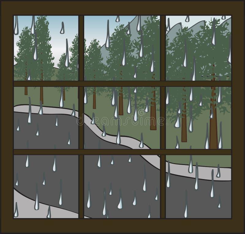 Ventana lluviosa stock de ilustración
