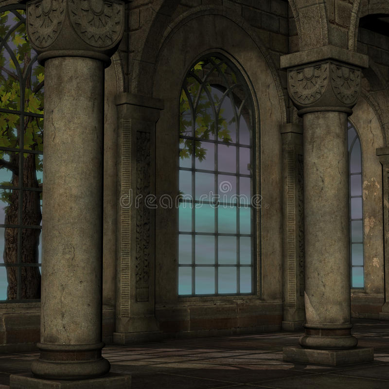 Ventana mágica en una configuración de la fantasía ilustración del vector