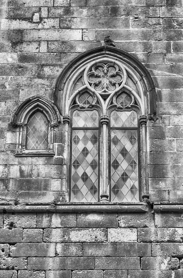 Ventana medieval en Placa del Rei, Barcelona, Cataluña, España imagen de archivo