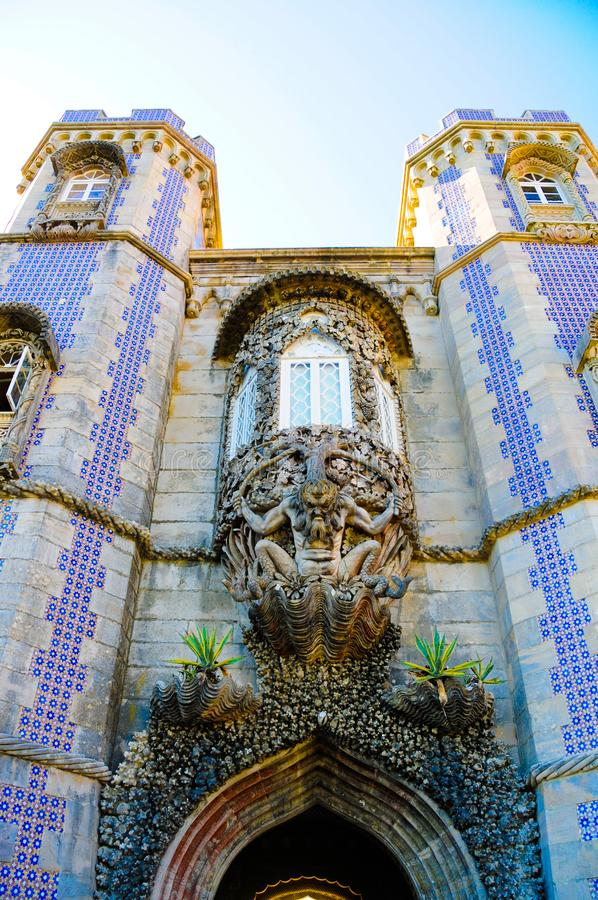Ventana nacional de Trinton del palacio de Sintra, viaje Lisboa, Portugal imagen de archivo