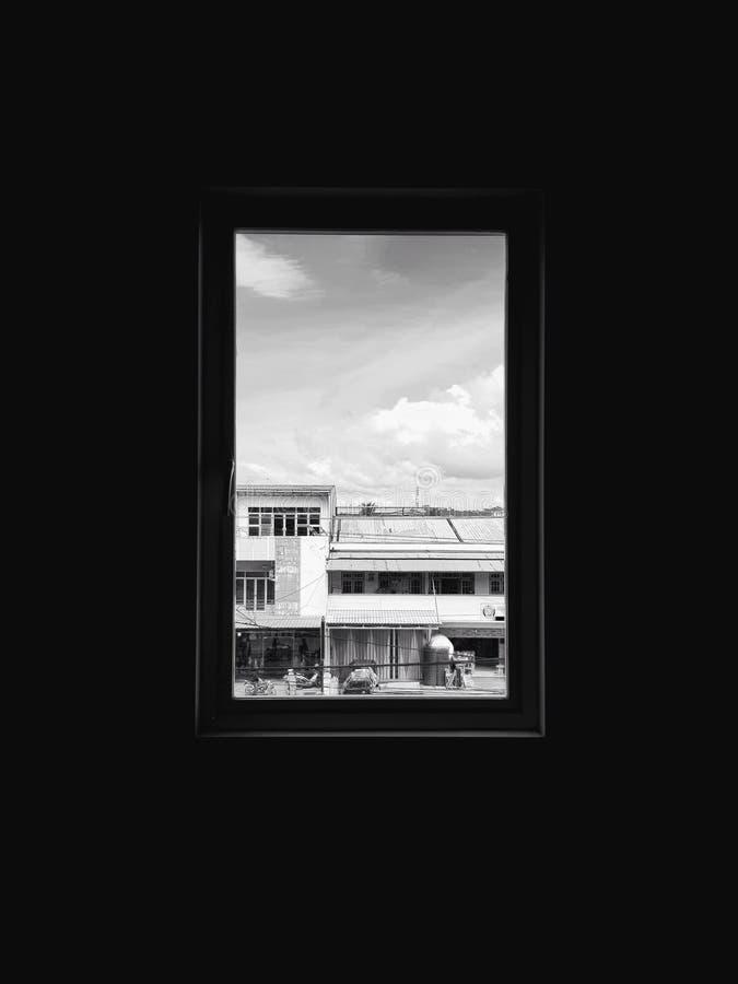 Ventana negra imagen de archivo