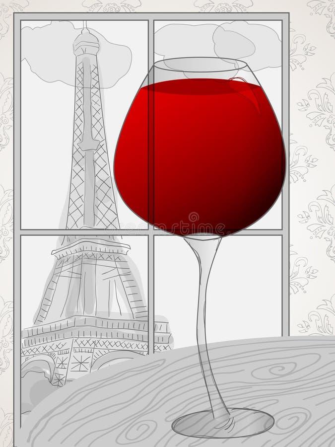 Ventana a París stock de ilustración