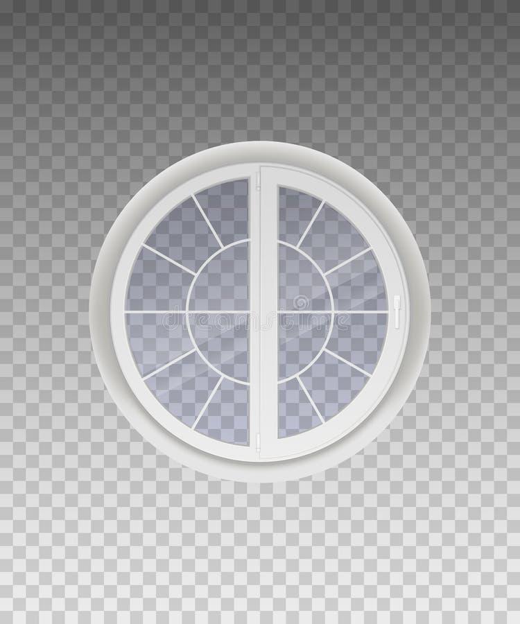 Ventana redonda cerrada con el vidrio transparente en un marco blanco aislado en un fondo transparente Vector ilustración del vector