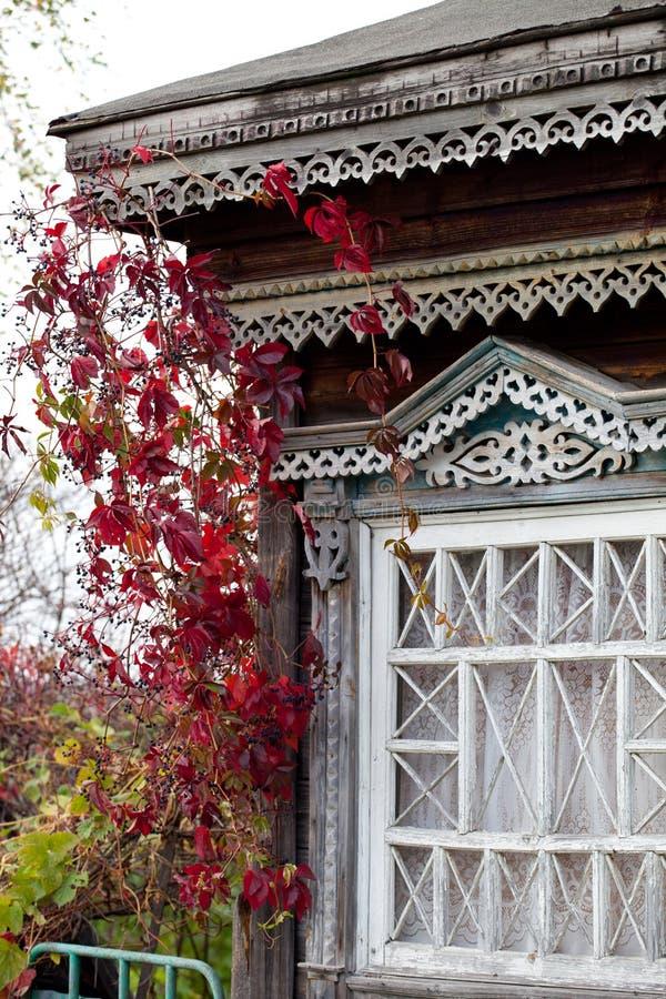 Ventana rural de la casa trenzada con la enredadera de Virginia del otoño (Partheno imagen de archivo