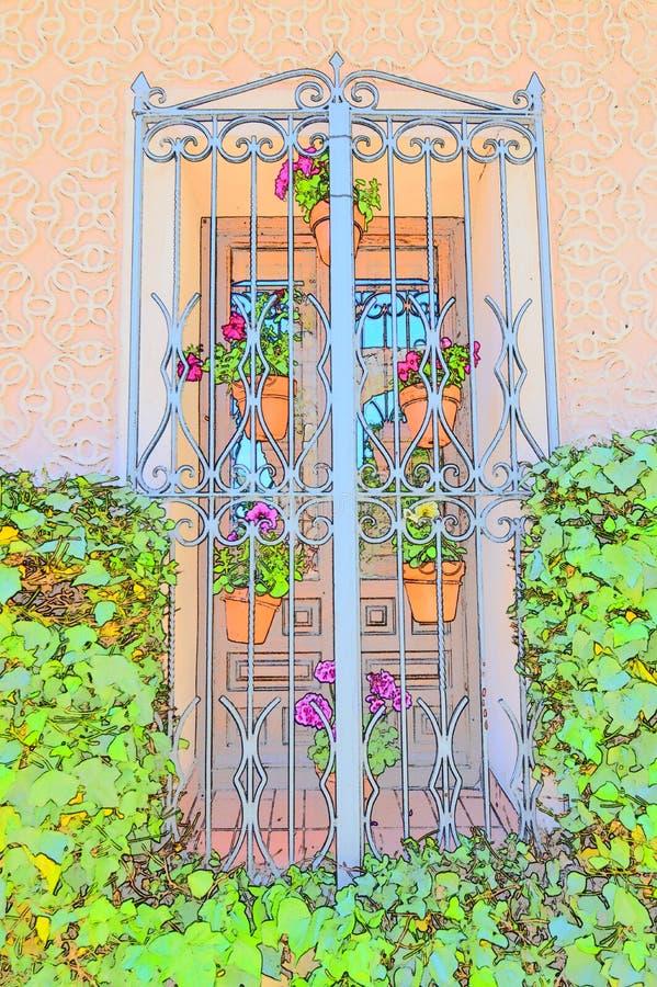 Ventana típica de España meridional adornada con las macetas coloreadas para el uso como fondo Texturas de los fondos de las salv stock de ilustración