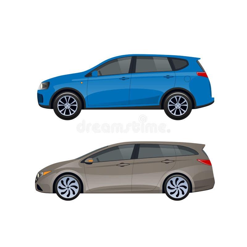 Ventana trasera moderna de los coches para las familias, viajes, viaje, transporte del equipaje ilustración del vector