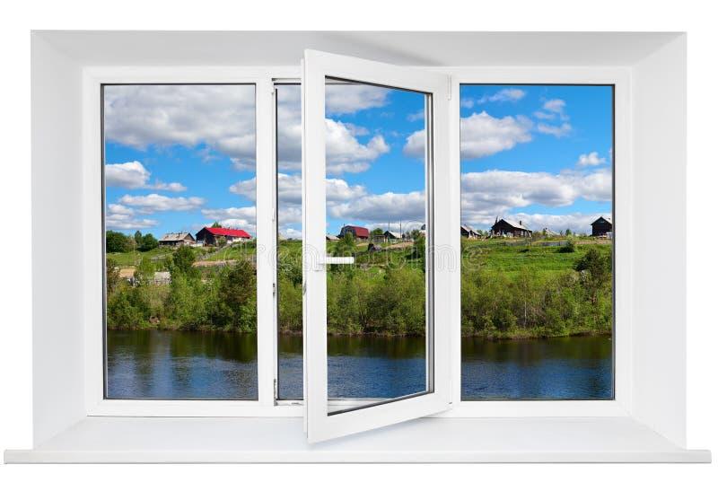 Ventana triple plástica blanca de las puertas imagenes de archivo