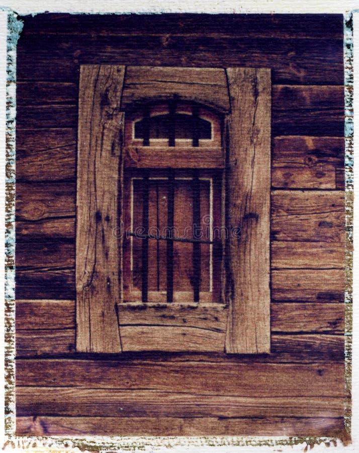 Ventana vieja del grainery - transferencia de imagen polaroid imágenes de archivo libres de regalías