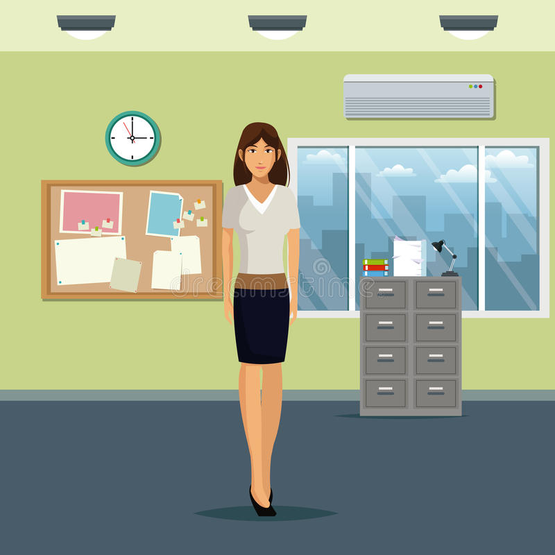 Ventana y acondicionador de aire del reloj del tablón de anuncios del fichero del gabinete de la oficina del espacio de trabajo d stock de ilustración