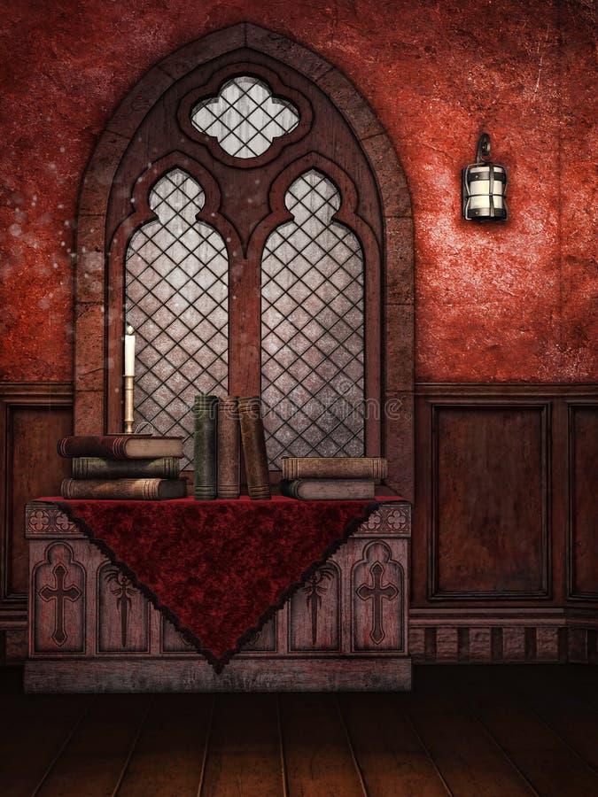 Ventana y libros medievales stock de ilustración