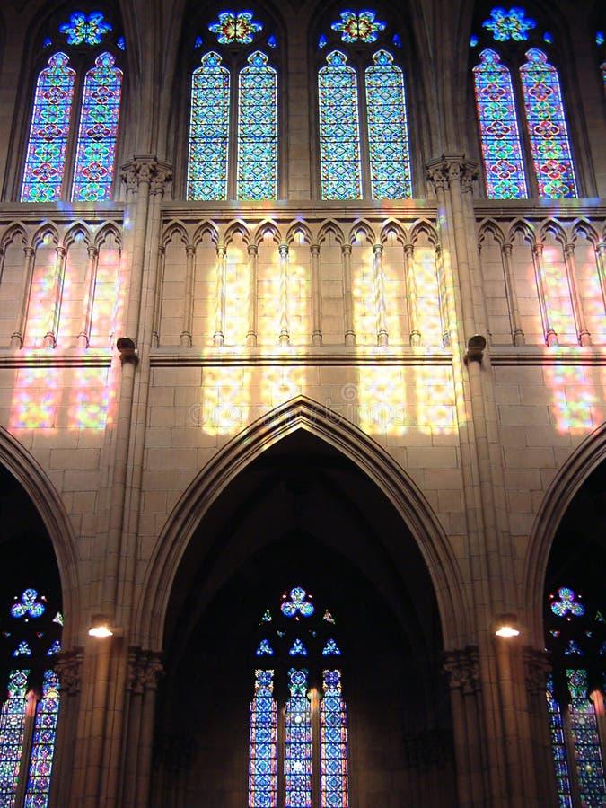 Ventanas de cristal de colores en San Sebastian fotografía de archivo libre de regalías