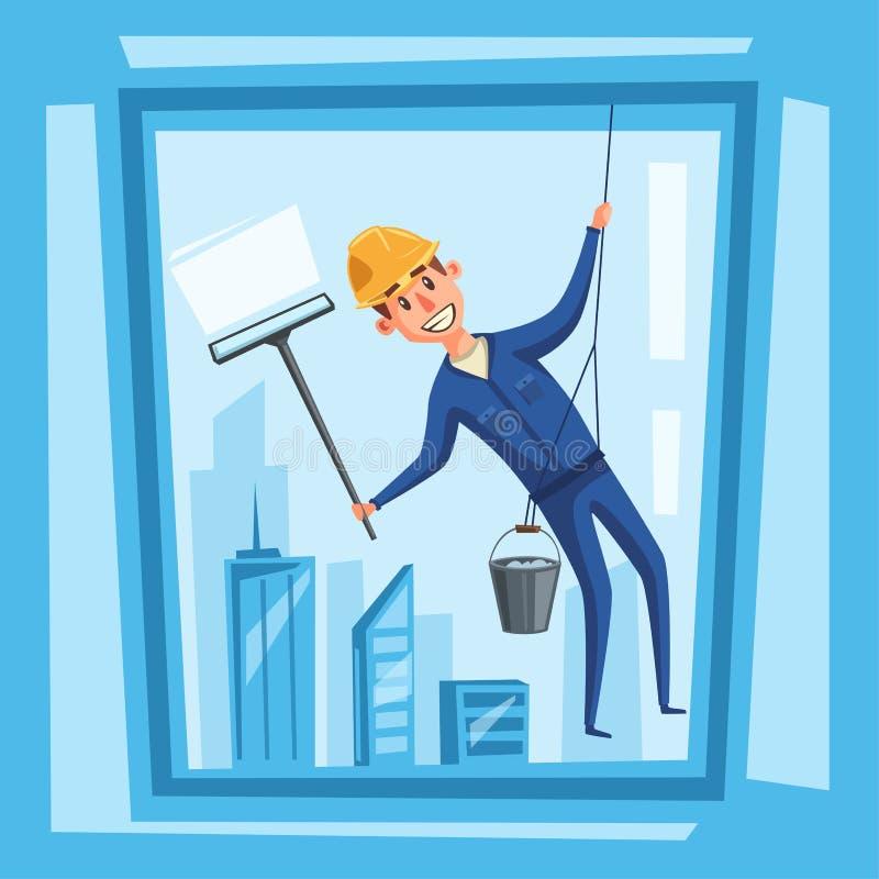 Ventanas de la limpieza del trabajador de Profesional Ilustración del vector de la historieta stock de ilustración