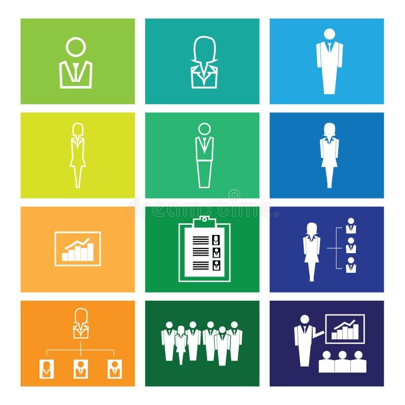 Ventanas de los iconos de la organización de la empresa stock de ilustración