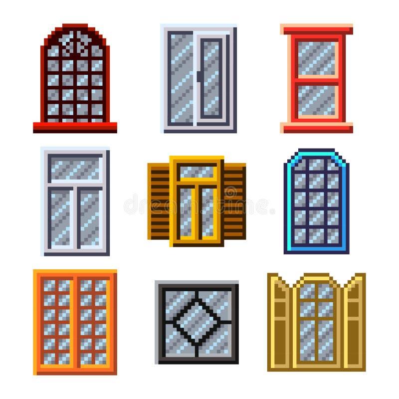 Ventanas del pixel para el sistema del vector de los iconos de los juegos ilustración del vector