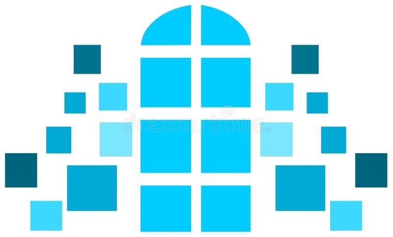 Ventanas divididas con parteluz estilizadas adornadas en tonos azules ilustración del vector