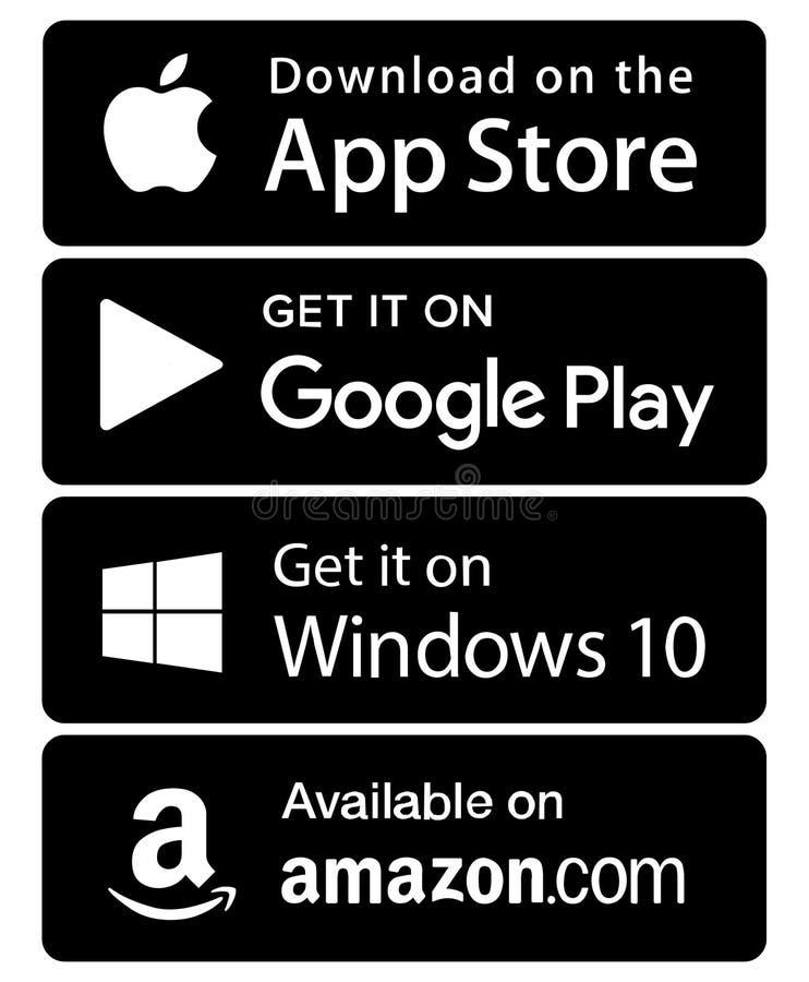 Ventanas el Amazonas del juego de Google de la tienda del app de los iconos ilustración del vector