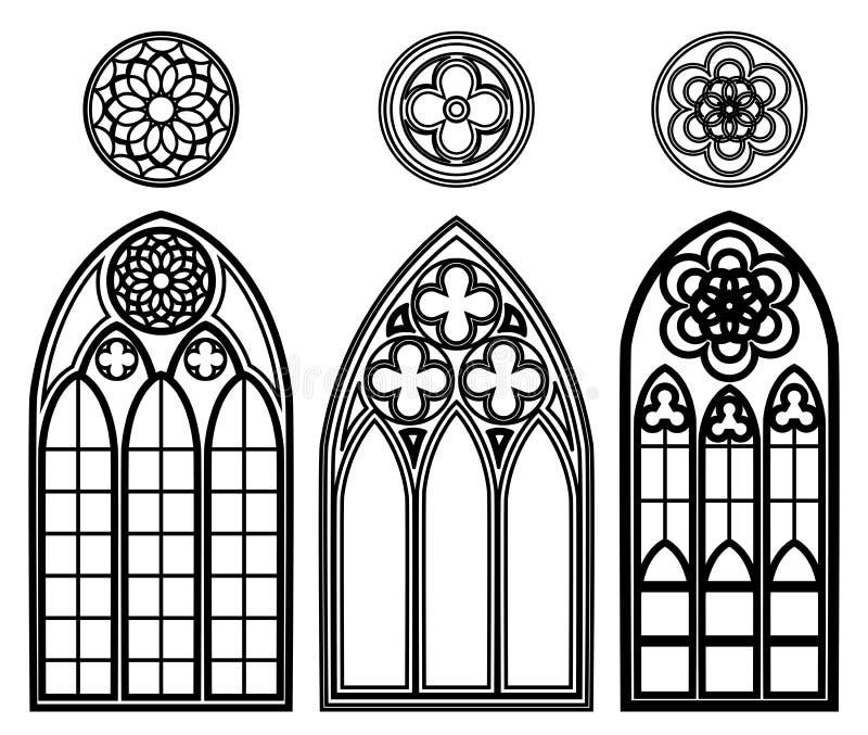 Ventanas góticas de catedrales stock de ilustración