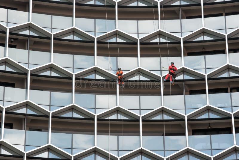 Ventanas industriales de un edificio alto, limpieza del lavado del personal de los trabajadores del alpinismo del hombre que limp fotos de archivo
