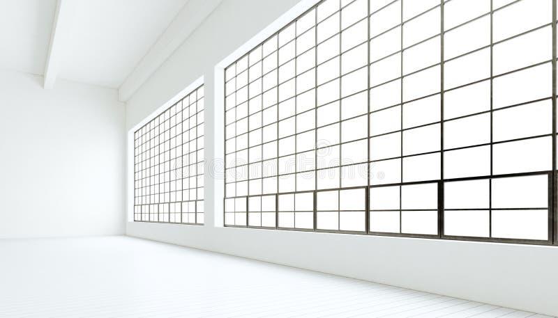 Ventanas panorámicas enormes del sitio industrial moderno vacío de la expo, piso de madera blanco pintado, paredes limpias repres ilustración del vector