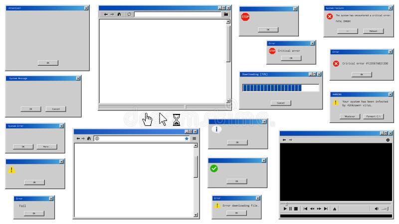 Ventanas viejas de la interfaz de usuario libre illustration