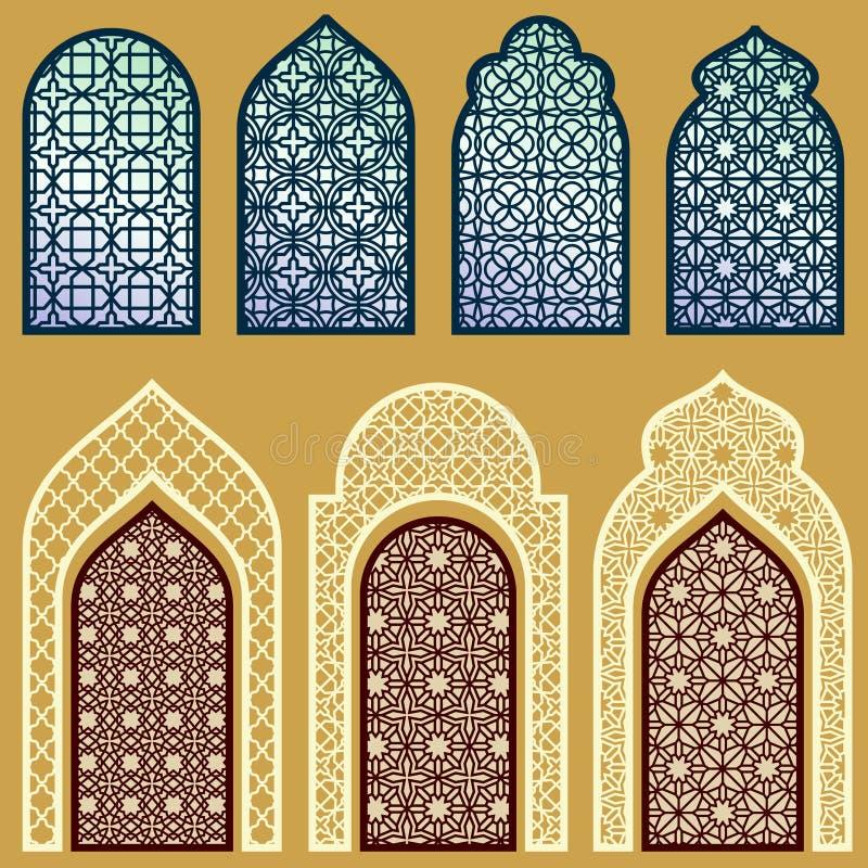 Ventanas y puertas islámicas con el sistema árabe del vector del modelo del ornamento del arte stock de ilustración