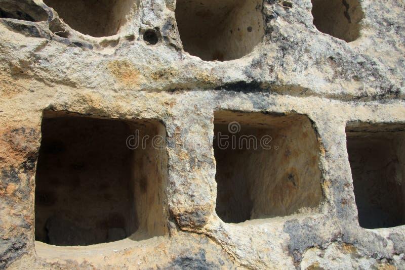 Ventanillas de Combaya, old pre inca cemetry, northern Peru. The Ventanillas de Combaya are an old pre inca cemetry in the mountains of northern Peru near stock photography