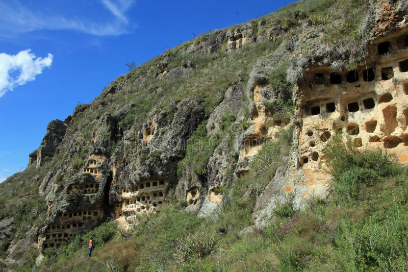 Ventanillas de Combaya, old pre inca cemetry, northern Peru. The Ventanillas de Combaya are an old pre inca cemetry in the mountains of northern Peru near stock image