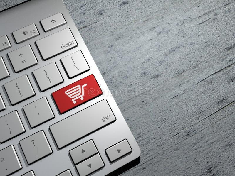 Ventas, compras en línea, ofertas de las compras Botones del teclado de ordenador representación 3d ilustración del vector