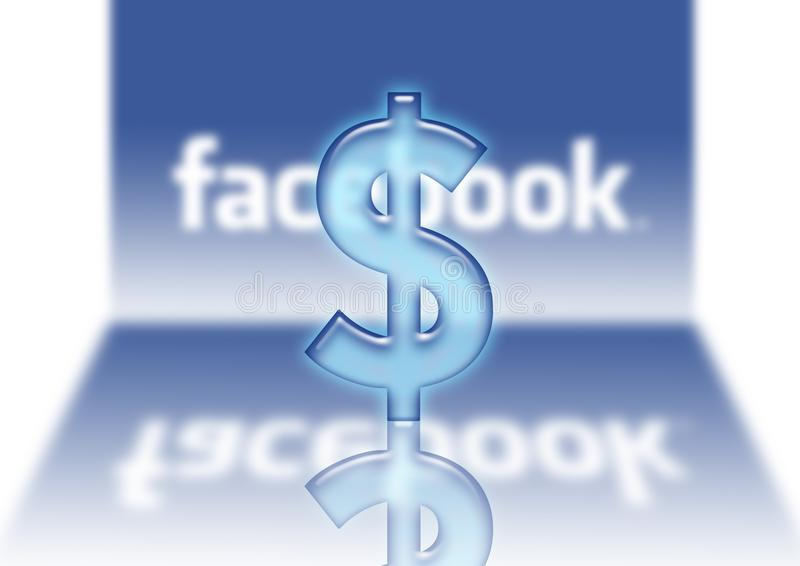 Ventas de $ del dólar del logotipo de Facebook stock de ilustración