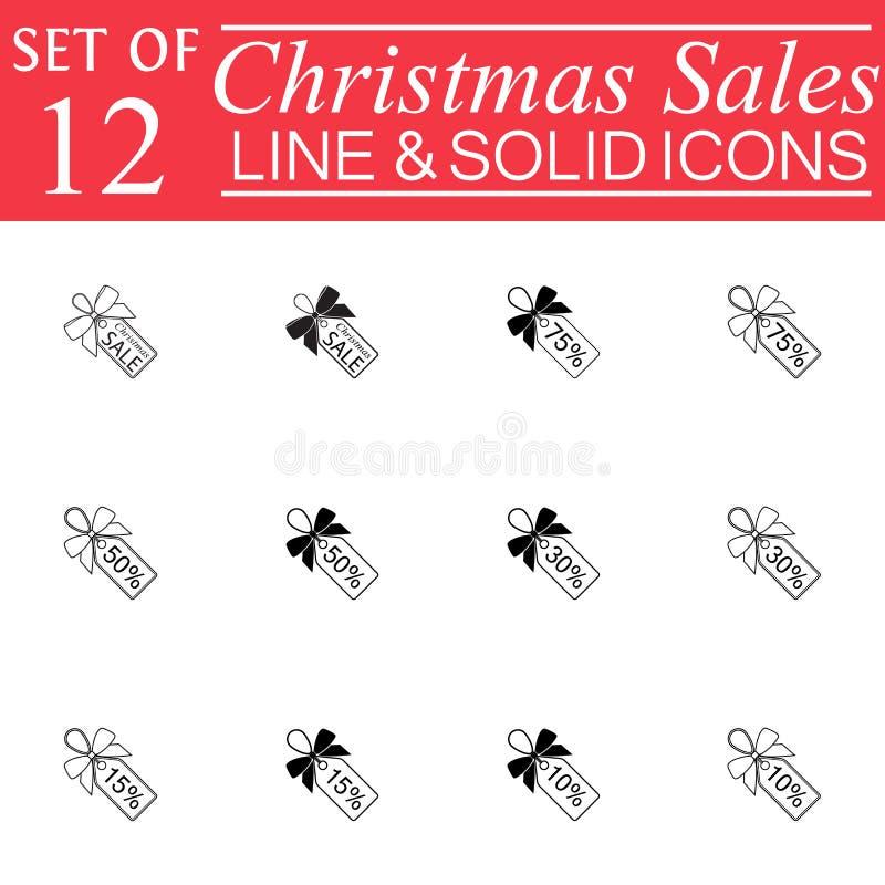 Ventas de la Navidad con la línea iconos de las cintas libre illustration