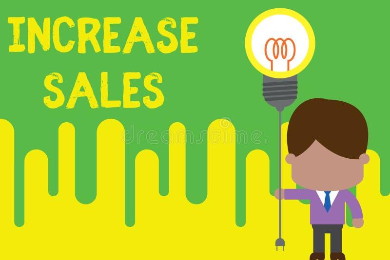 Ventas del aumento del texto de la escritura Significado del concepto que impulsa el producto vendido al lazo comercial del hombr stock de ilustración
