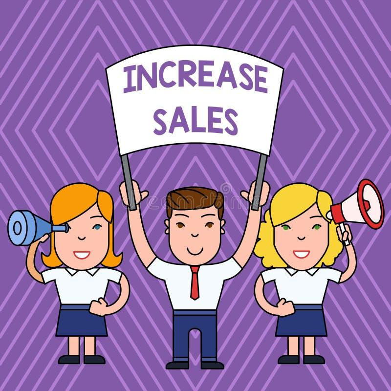Ventas del aumento del texto de la escritura Significado del concepto que impulsa el producto vendido a la gente comercial del cr stock de ilustración