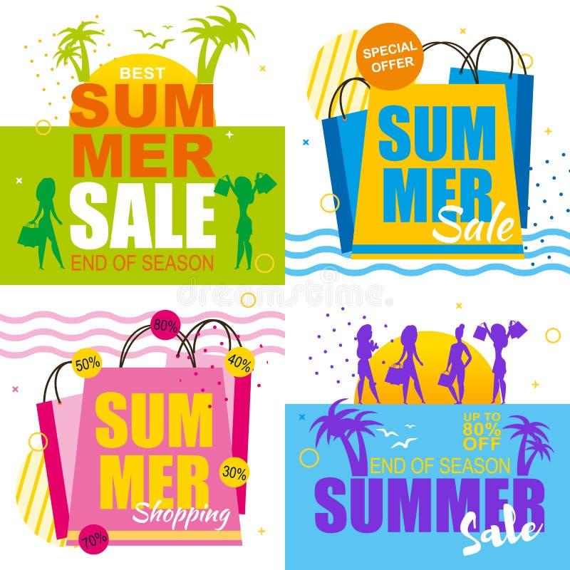 Ventas del verano fijadas con las mejores ofertas de las vacaciones de las mujeres ilustración del vector