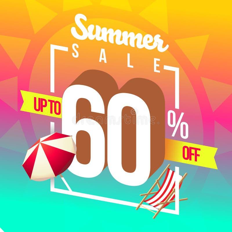Ventas del verano y descuentos especiales ilustración del vector