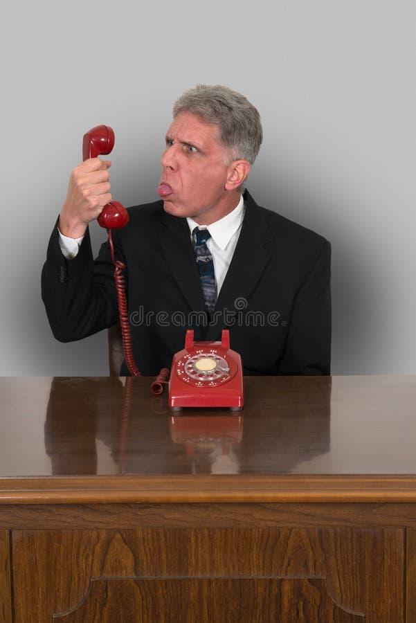 Ventas divertidas del teléfono, negocio, comercializando foto de archivo libre de regalías