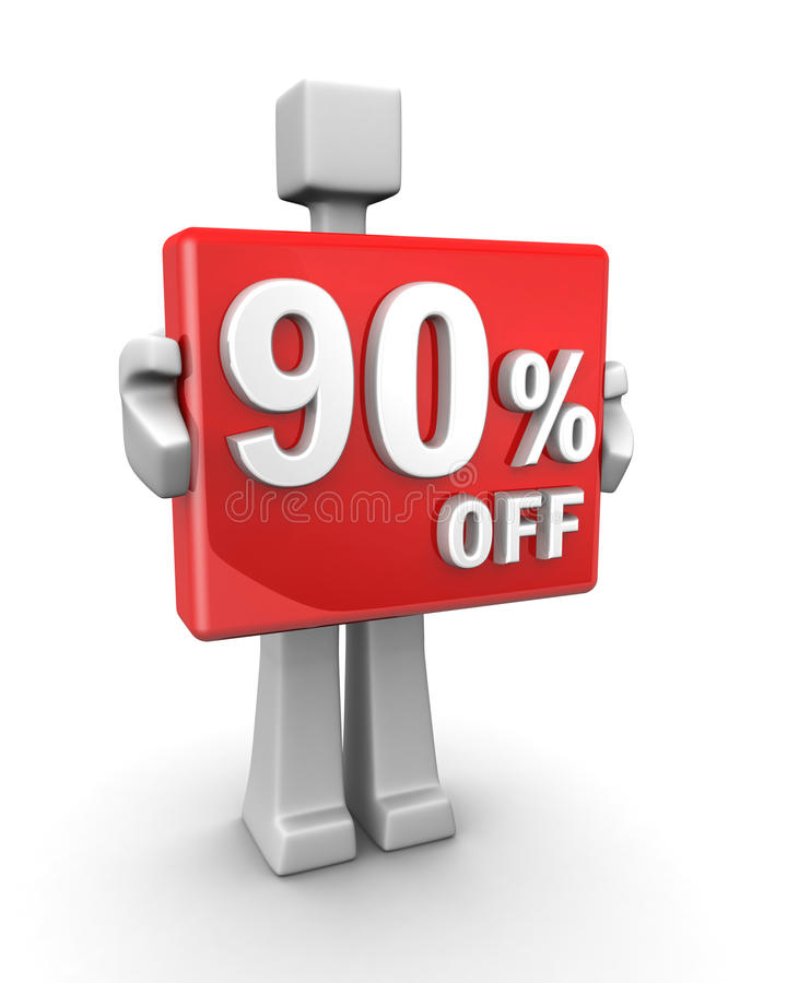 Ventas estacionales 90 pecent apagado para el descuento de las compras ilustración del vector
