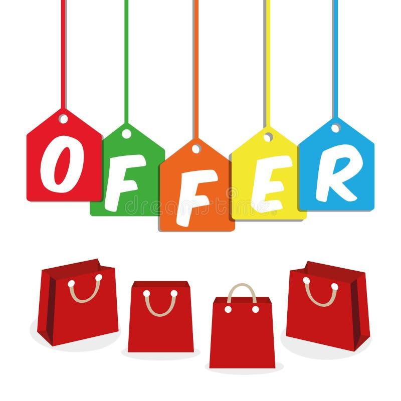 Ventas grandes y el hacer compras de las ofertas especiales stock de ilustración