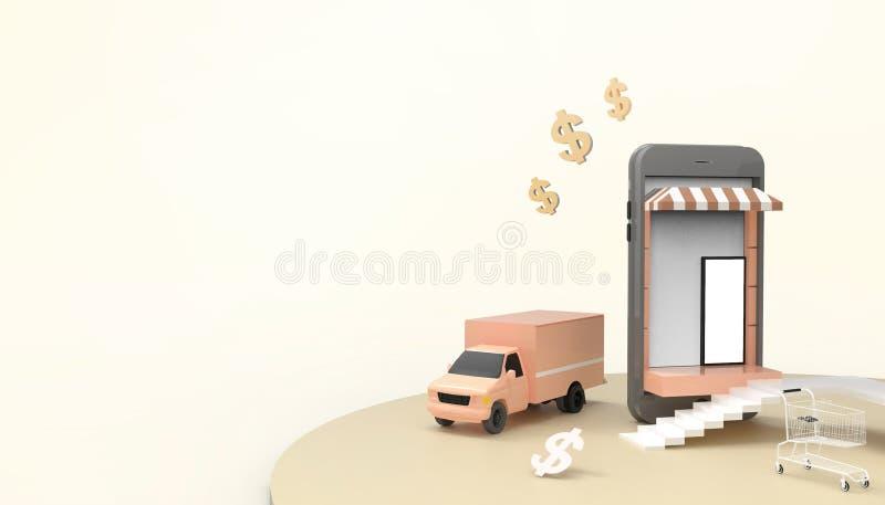 Ventas que hacen compras en línea en página web o la aplicación móvil y coche de entrega de comercialización del concepto de Digi libre illustration