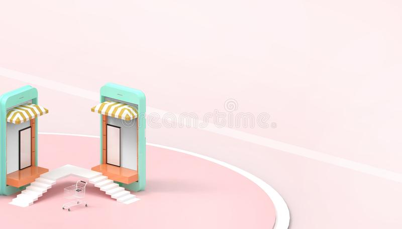 Ventas que hacen compras en línea en página web o la aplicación móvil y Digitaces que comercializan el fondo rosado en colores pa libre illustration