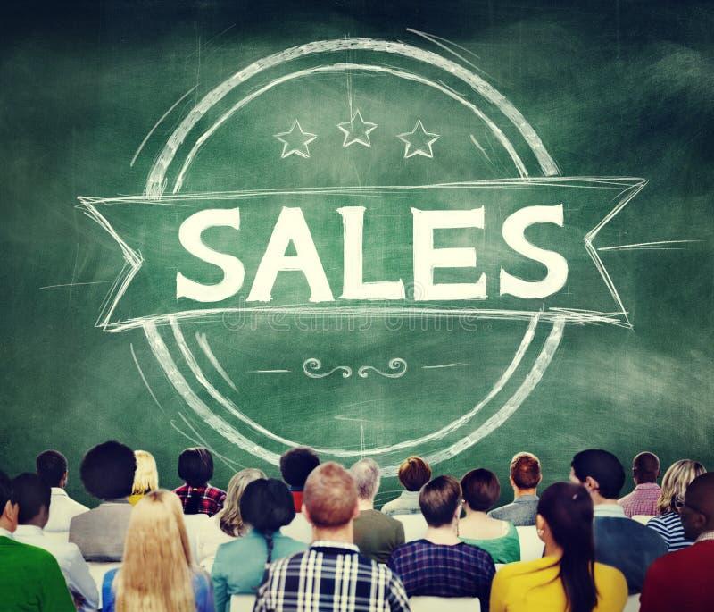 Ventas que venden concepto del márketing del comercio del descuento foto de archivo
