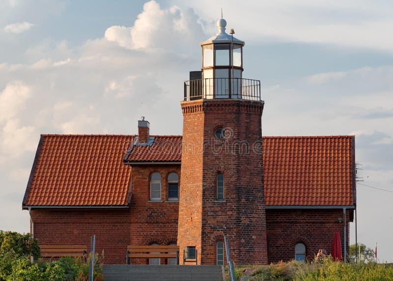 Vente海角灯塔,鸟类学驻地在立陶宛 免版税库存照片