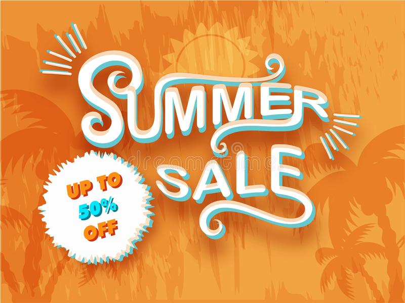 Vente élégante d'été des textes, palmiers sur le fond orange plat illustration stock