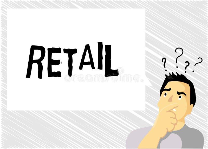 Vente au détail des textes d'écriture de Word Concept d'affaires à vendre des marchandises au public dans la stratégie de ventes  illustration de vecteur