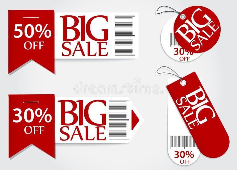 Vente au détail rouge de pourcentage de promotion de carte de vente illustration de vecteur