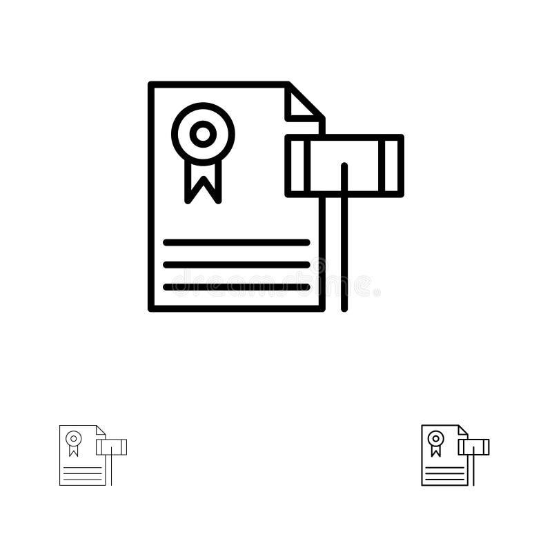 Vente aux enchères, cru, cher, gravier, juge Bold et ligne noire mince ensemble d'icône illustration stock